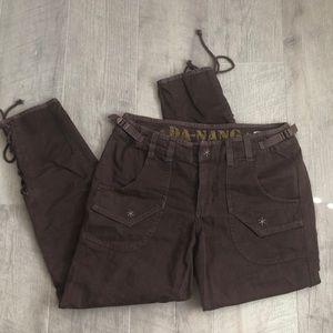 Da-Nang XS Brown Tie Leg cute Pants